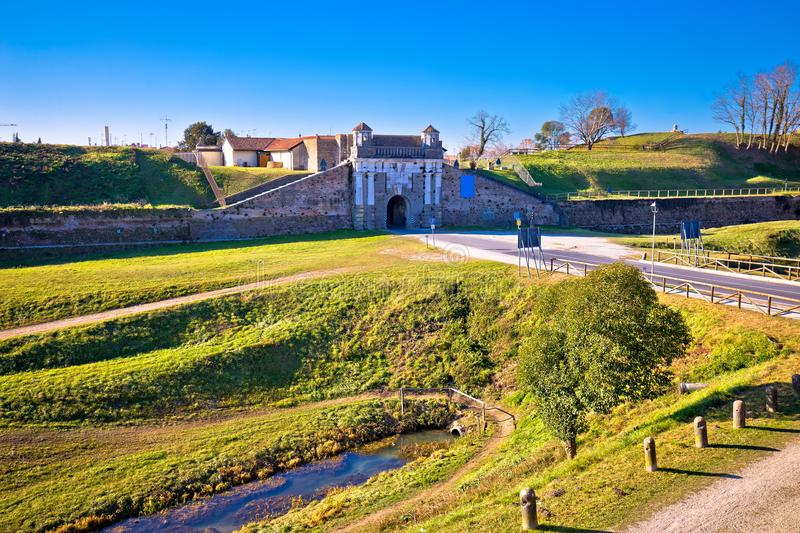 Town of Palmanova defense walls and stone gate view stock images