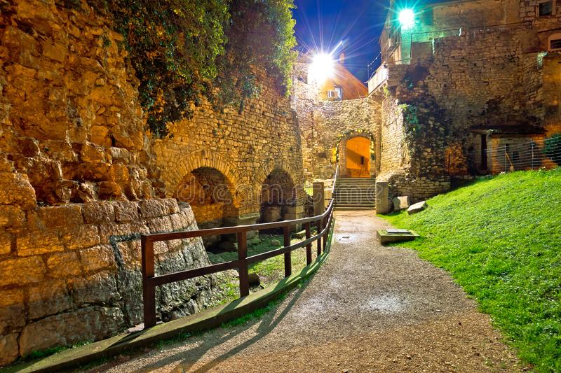 Town of Porec old walls evening view. UNESCO landmark in Istria, Croatia stock photo