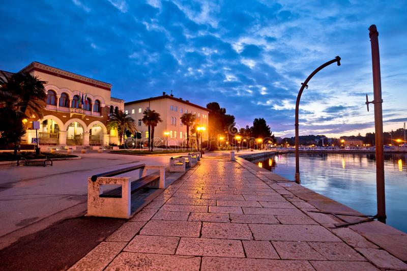 Town of Porec waterfront colorful dawn view. Istria region of Croatia royalty free stock photography