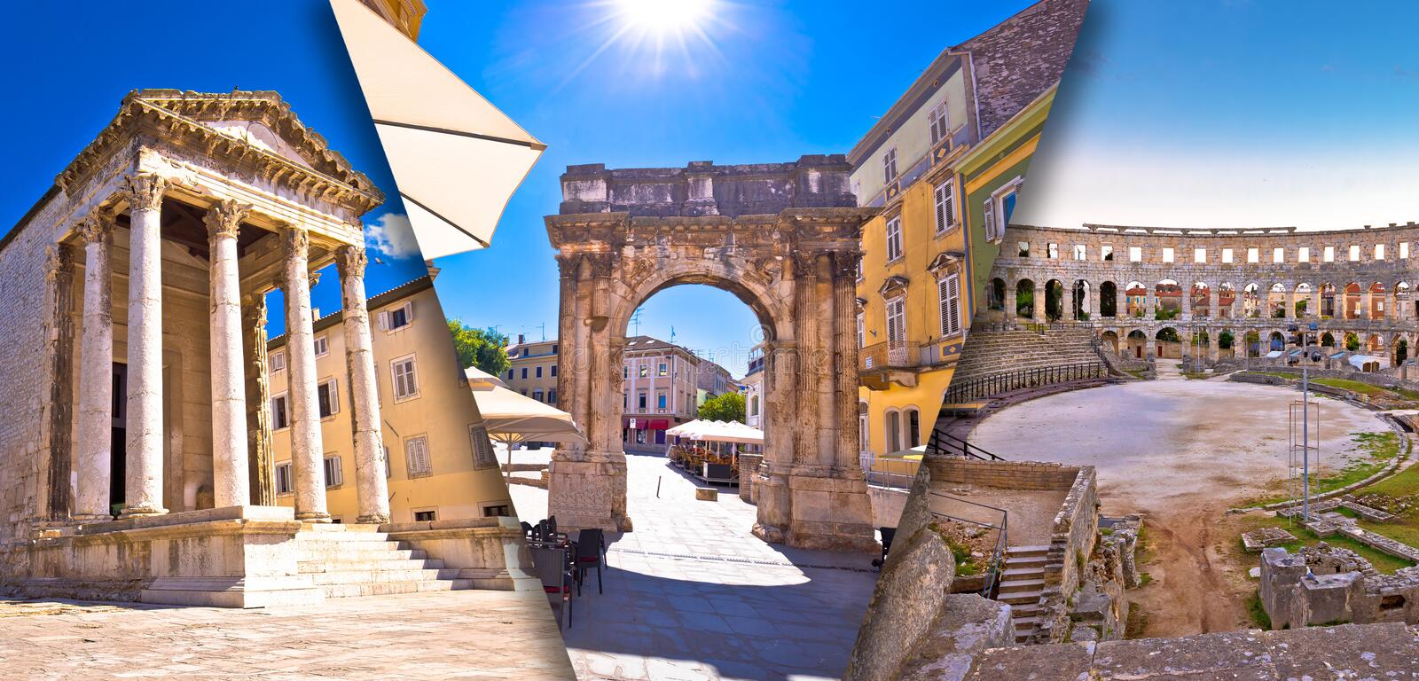 Town of Pula historic Roman landmarks panoramic collage tourist postcard view stock photography