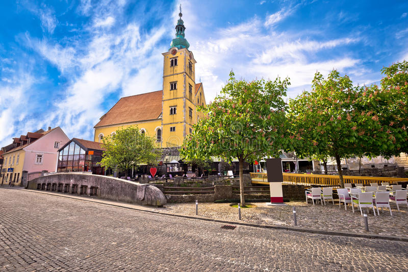 Town of Samobor church and squre view. Northern Croatia stock image