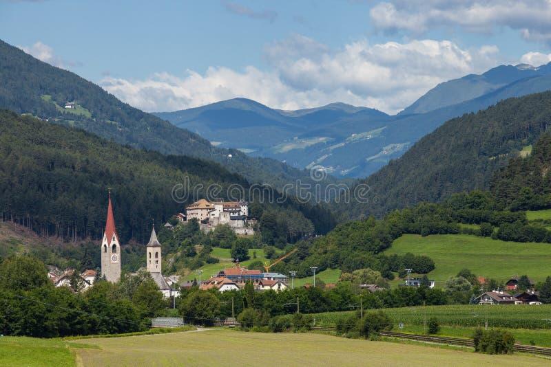 Town of San Lorenzo Di Sebato. Beautiful view of Italian town San Lorenzo Di Sebato near Bruneck stock photos