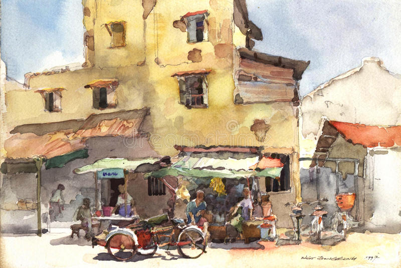 Town scenery watercolor painting royalty free illustration