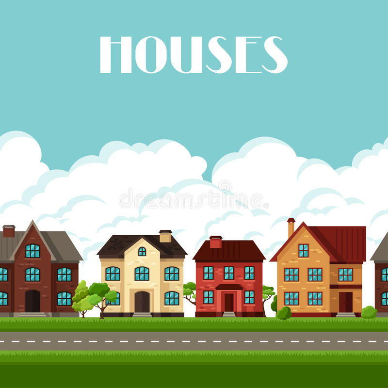 Town seamless border with cottages and houses vector illustration