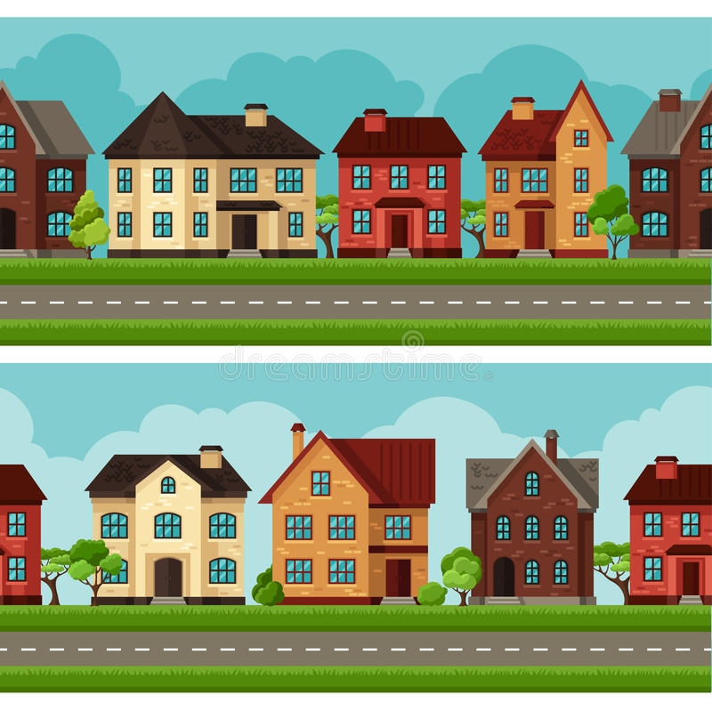 Town seamless borders with cottages and houses stock illustration