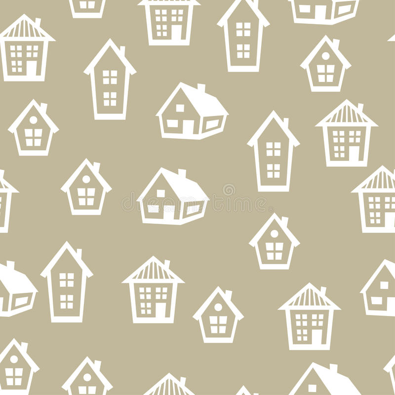 Town seamless pattern with cottages and houses stock illustration