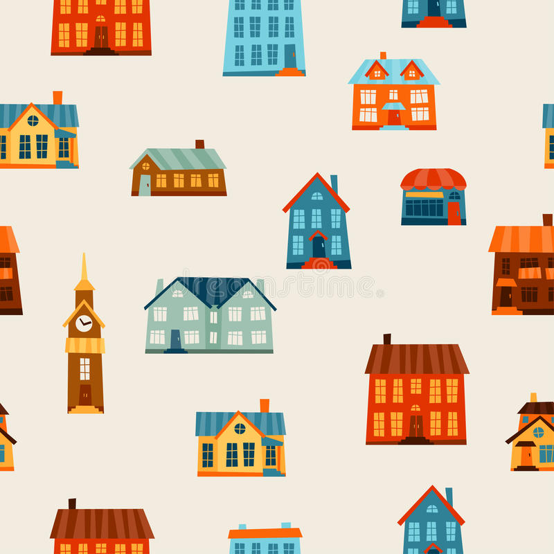 Town seamless pattern with cute colorful houses.  stock illustration