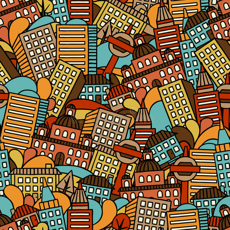 Town seamless pattern with hand drawn houses stock illustration