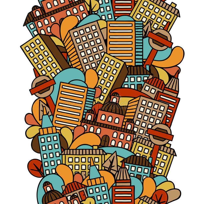 Town seamless pattern with hand drawn houses vector illustration