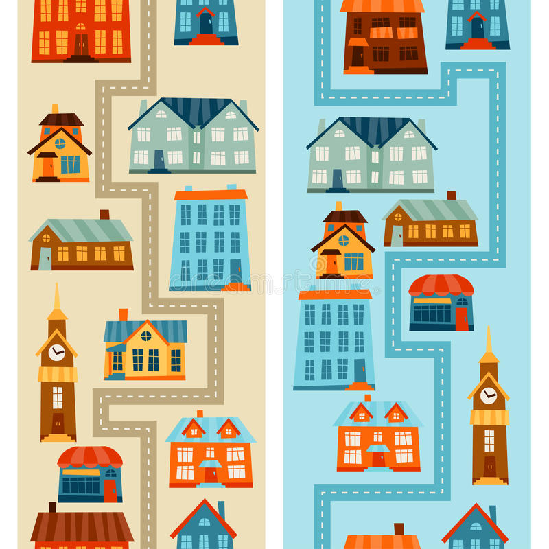 Town seamless patterns with cute colorful houses royalty free illustration