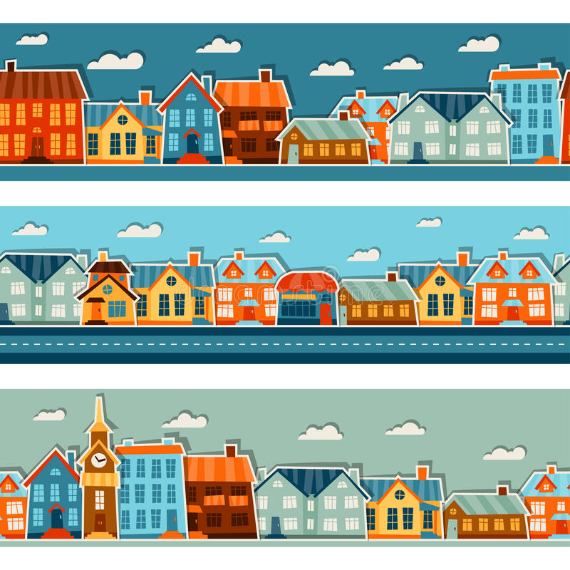 Town seamless patterns with cute colorful sticker royalty free illustration
