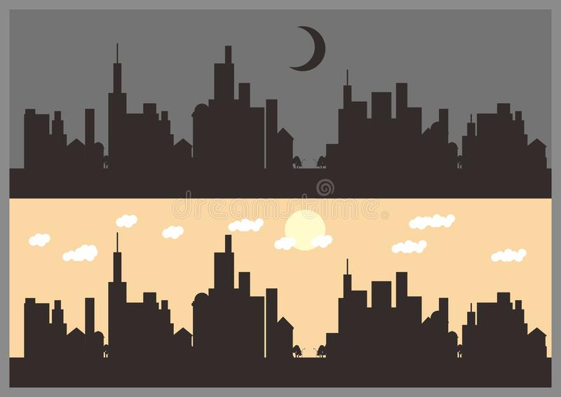 Town Silhouette. Simple Silhouette of little town royalty free illustration