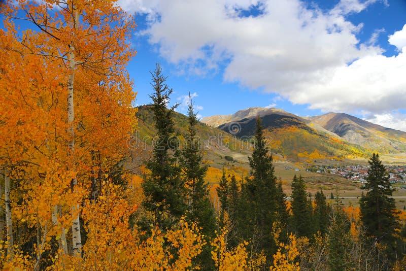 Town of Silverton in Colorado Rocky Mountains in autumn stock photos
