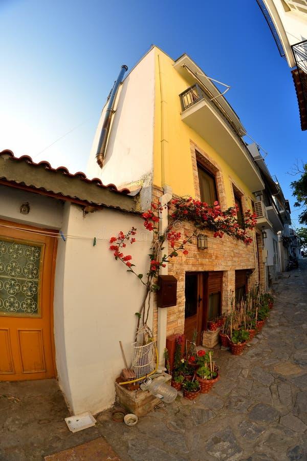 Town Skyathos stock photo
