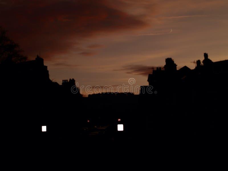 Town Skyline Sunset Silhouette in Yorkshire stockfoto