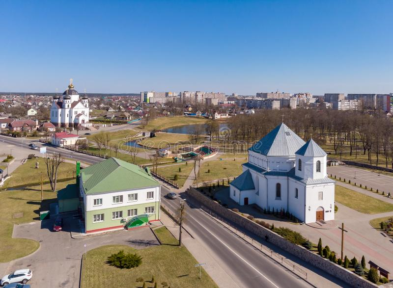 Thу view of Smorgon, Belarus. The town Smorgon in Belarus. Drone aerial photo royalty free stock photos