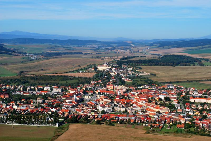The town of Spisske Podhradie, Slovakia. View from the Spis Castle stock photography