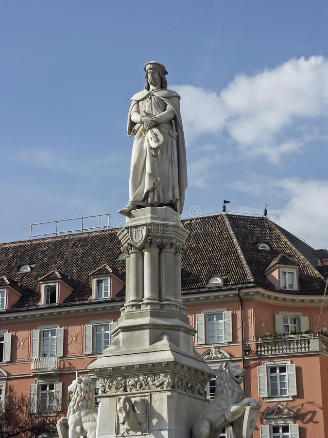 Town square in Bolzano. The Waltherplatz with the monument of Walter von der Vogelweide in the center of the South Tyrolean provincial capital Bolzano royalty free stock images