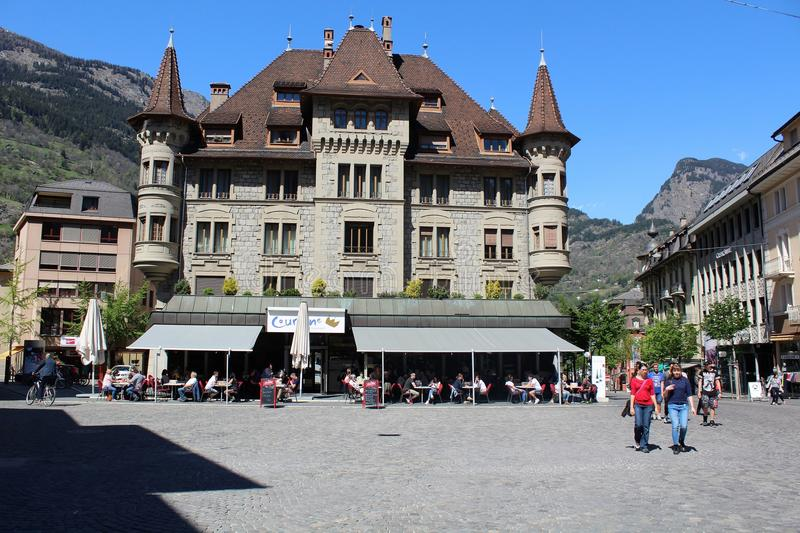 The town square of Briga in Switzerland stock photography