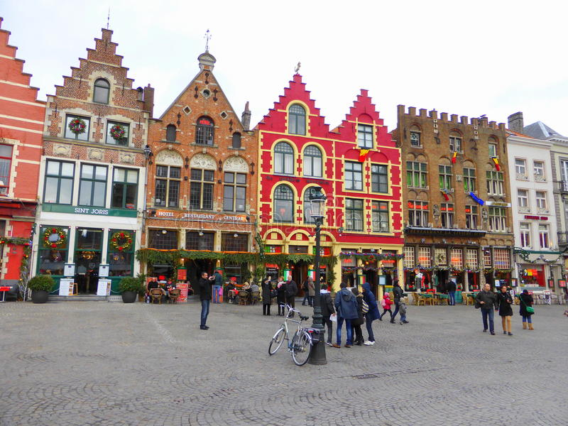 Town square in Bruges. Shops and cafes in the town square in Bruges, Belgium at Christmas time royalty free stock photo