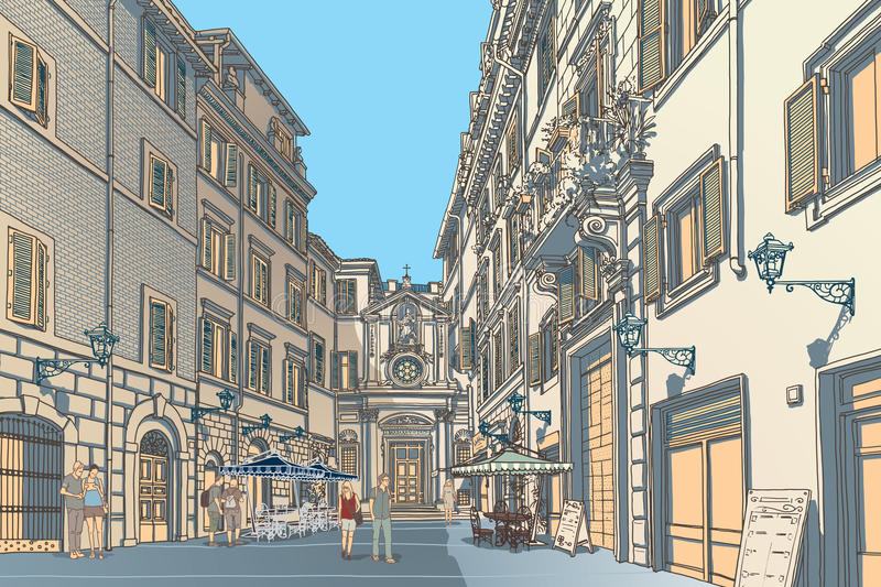 Town Square. Highly detailed vector sketch of an European town square. Baroque architecture and lively cafe bars. AI8 vector file included stock illustration