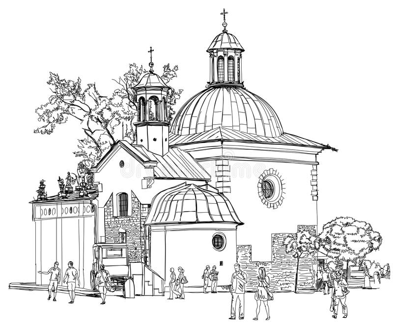 The town square in Krakow. Poland. Black & white vector sketch royalty free illustration