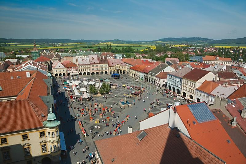 Town square on weekend stock images
