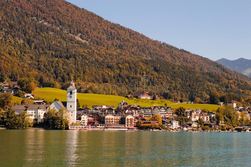 Town St. Wolfgang on Wolfgangsee lake in Austria. View of a town St. Wolfgang on Wolfgangsee lake in Austria stock photography