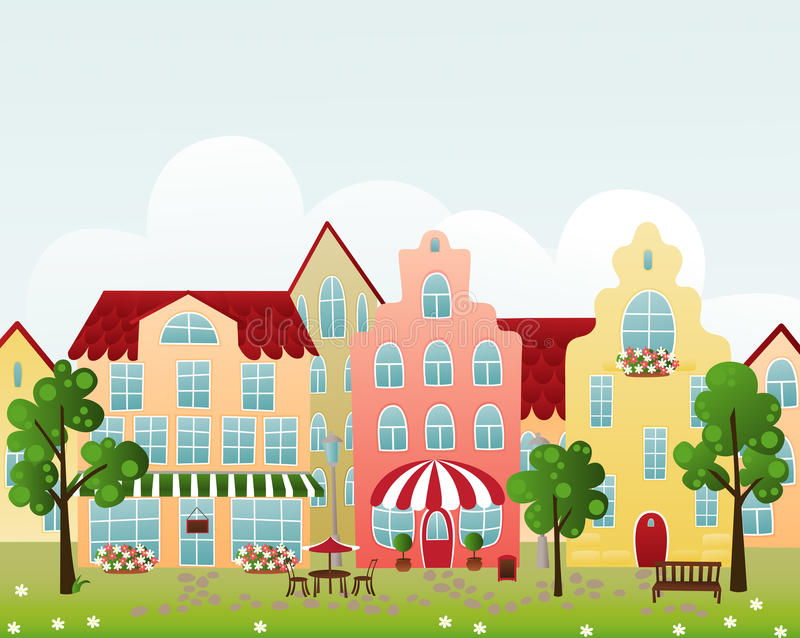 Town street stock illustration