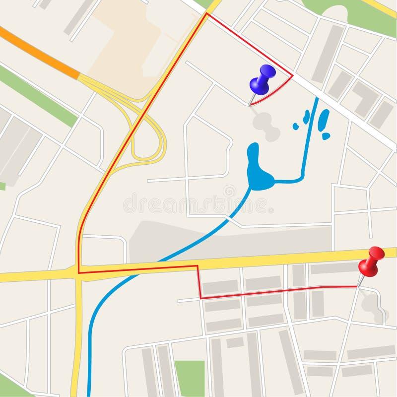 Town street plan. royalty free illustration