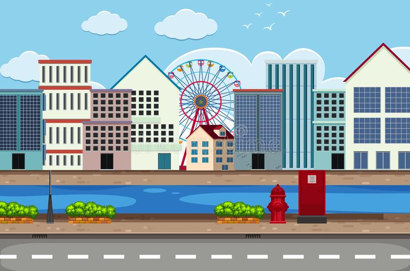 Town street scape scene stock illustration