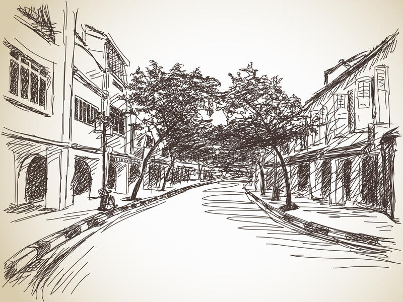 Town street sketch. Hand drawn illustration stock illustration
