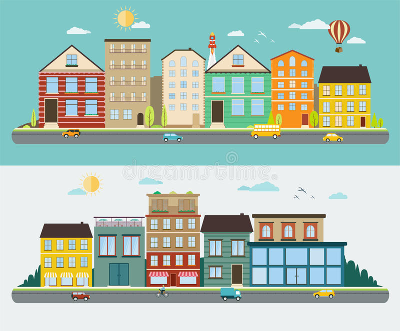Town streets in a flat design vector illustration
