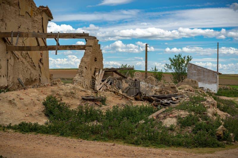Town stuck in `La España Vaciada`. Houses demolished at sunset stock photography