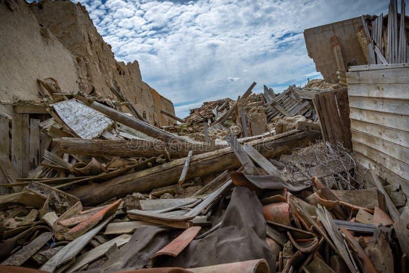 Town stuck in `La Espana Vaciada`. Houses demolished at sunset. Otero de Sariegos, Zamora royalty free stock image