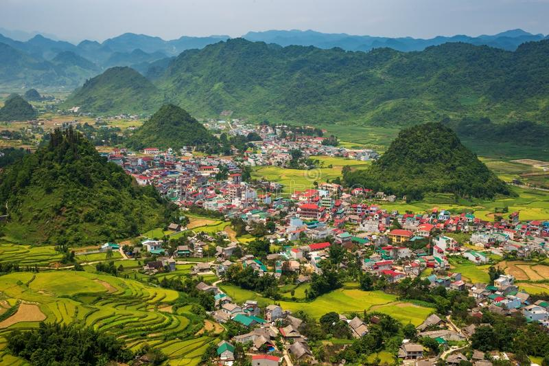 The town of Tam Son town in Quan Ba District, Ha Giang Province, Northern Vietnam royalty free stock image