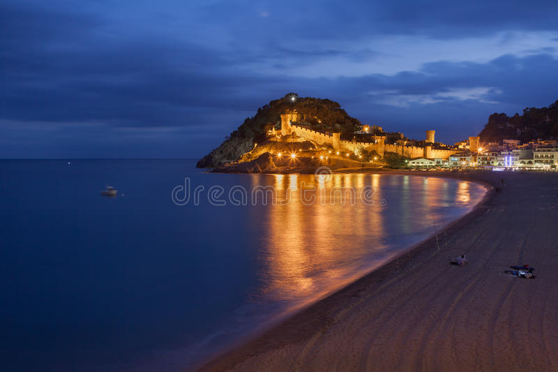 Town of Tossa de Mar at Night stock photography
