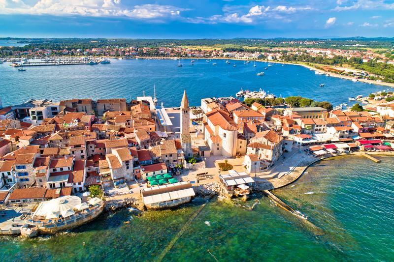 Town of Umag historic coastline architecture aerial view royalty free stock photography