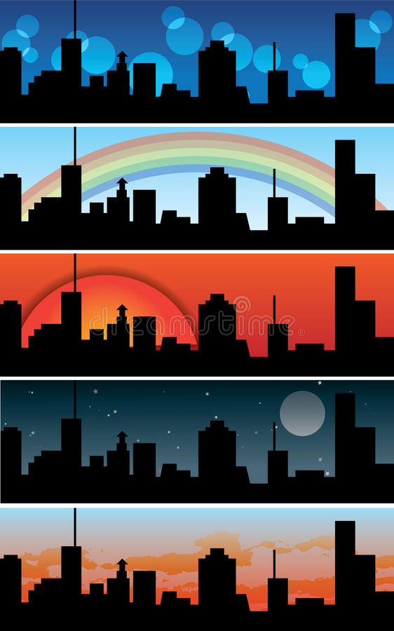 Town / urban banners - collection stock illustration
