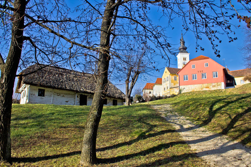 Town of Varazdinske toplice center park. With old traditional wooden house royalty free stock photos