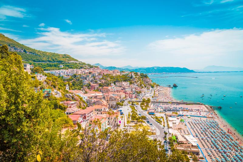 Town of Vietri sul Mare, province of Salerno, Campania, Italy. Beautiful view of Vietri sul Mare, the first town on the Amalfi Coast, with the Gulf of Salerno stock image