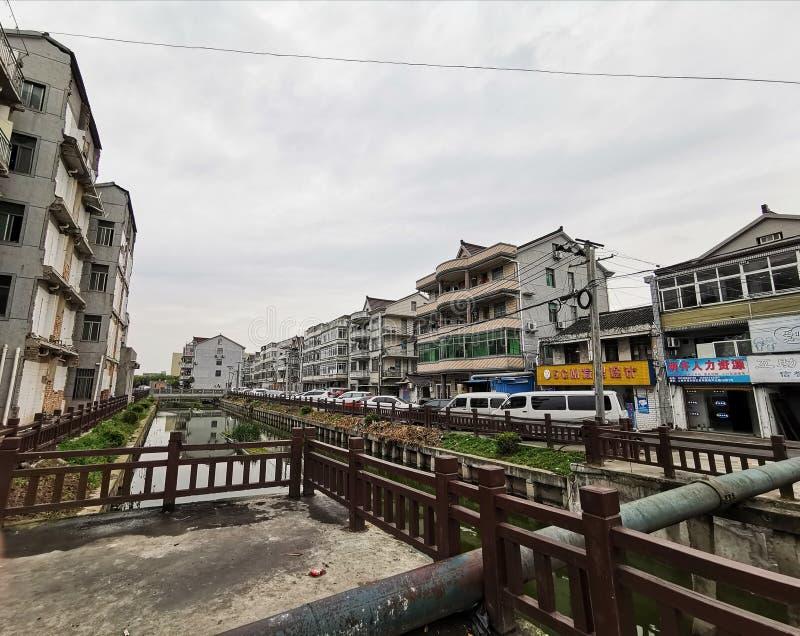 Town View, Huinan, Pudong Shanghai, Kina royaltyfri bild