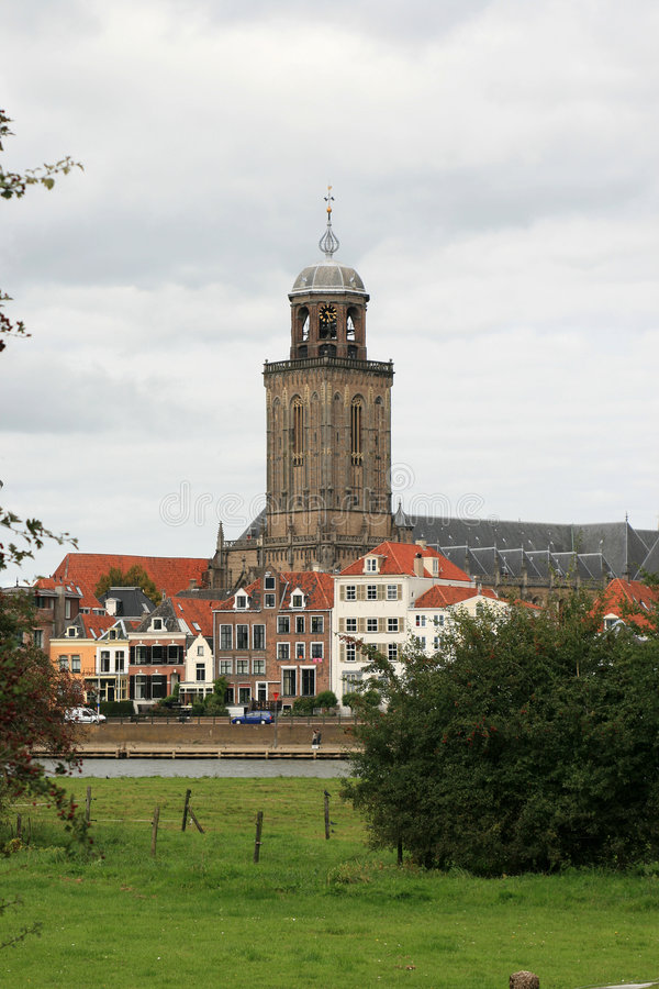 Free Town-view With Church; Deventer Royalty Free Stock Photo - 3657155