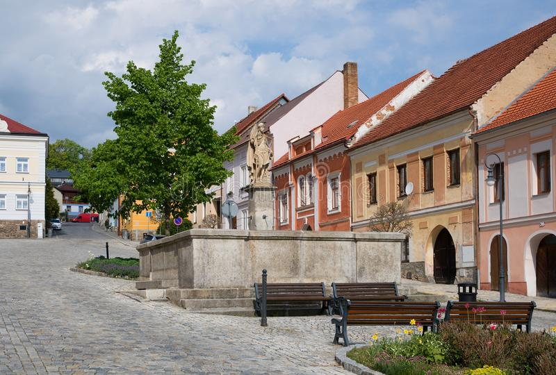 Town Vimperk, Southern Bohemia, Czech Republic. Square with fountain in the historic town Vimperk, southern Bohemia, Czech republic, Europe stock photo