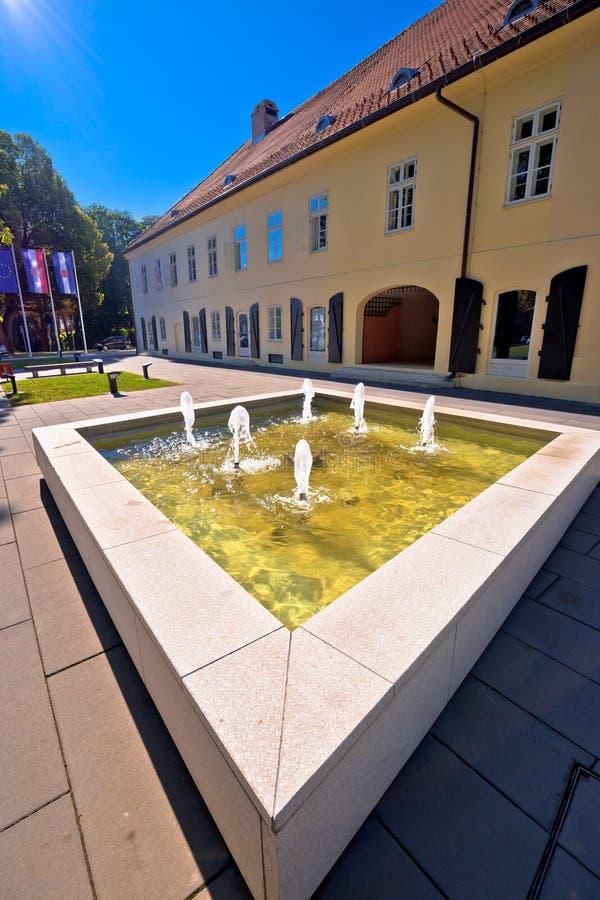 Town of Virovitica street and fountain view. Slavonija region of Croatia royalty free stock photo