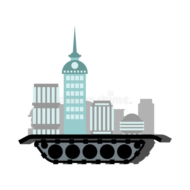 Town on wheels. Mobile city. Skyscraper and house. Moving place royalty free illustration
