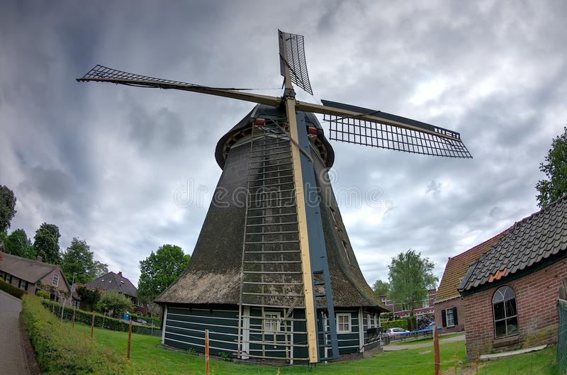 Town Windmill, Laren, Netherlands. Fish eye shot of the town windmill in Laren Holland royalty free stock photos