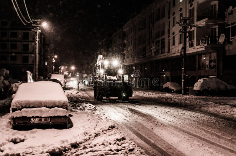 Download Town In The Winter Snow editorial stock photo. Image of path - 83710843