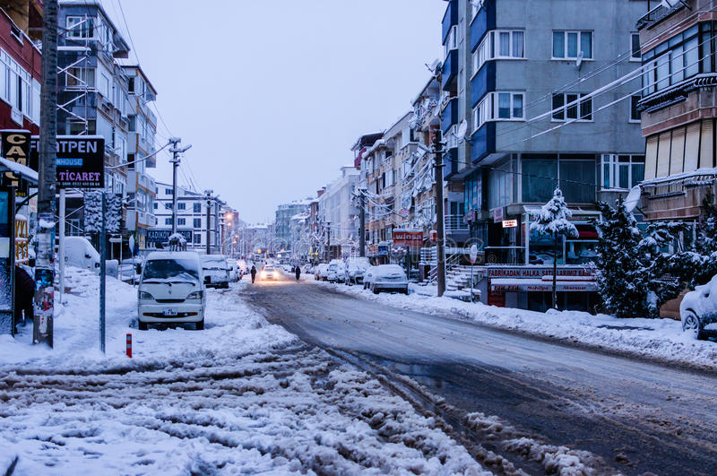 Download Town In The Winter Snow editorial stock photo. Image of ground - 83711718