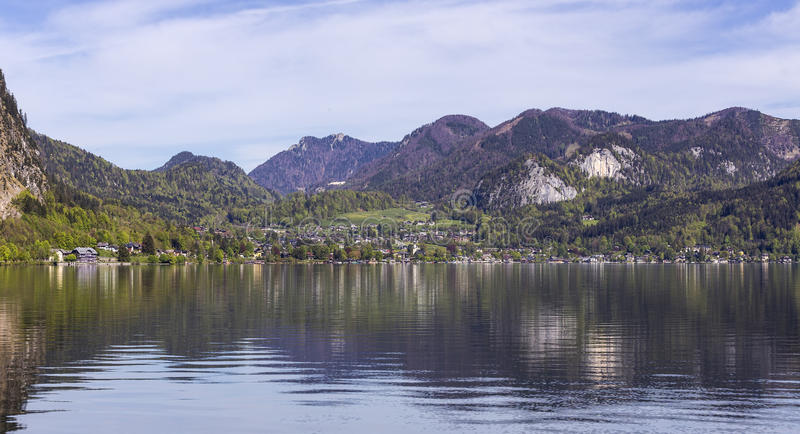 Town by Wolfgangsee Lake. View from the town of Wolfgangsee in the Salzkammergut, Upper Austria, Austria stock image